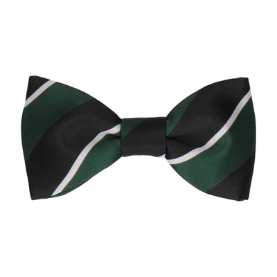 Dark Green & Navy Thick Stripe Bow Tie