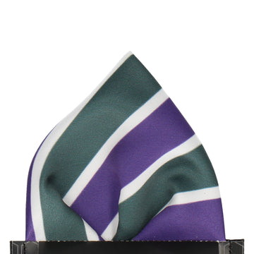 Suffragette Wimbledon Green, Purple & White Stripes Pocket Square