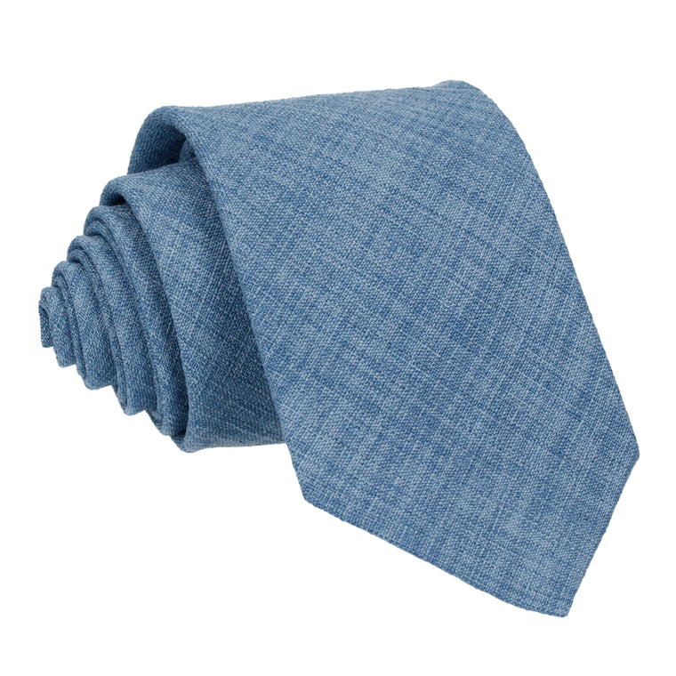 Blue Textured Cotton Linen Tie