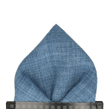 Blue Textured Cotton Linen Pocket Square