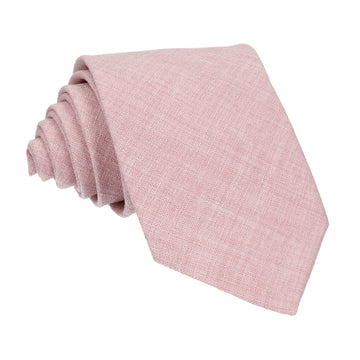 Pale Pink Textured Cotton Linen Tie