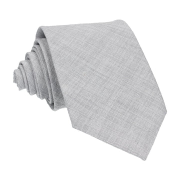 Pale Grey Textured Cotton Linen Tie