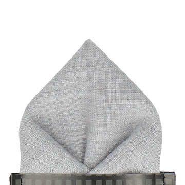 Pale Grey Textured Cotton Linen Pocket Square