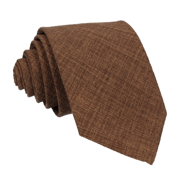 Pecan Brown Textured Cotton Linen Tie