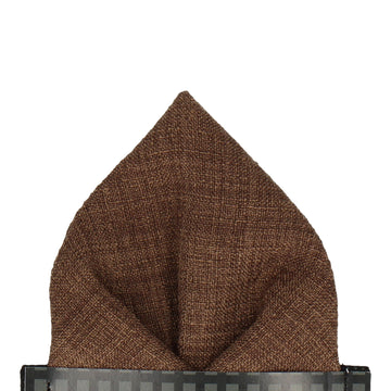 Pecan Brown Textured Cotton Linen Pocket Square