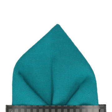 Turquoise Plain Textured Cotton Pocket Square