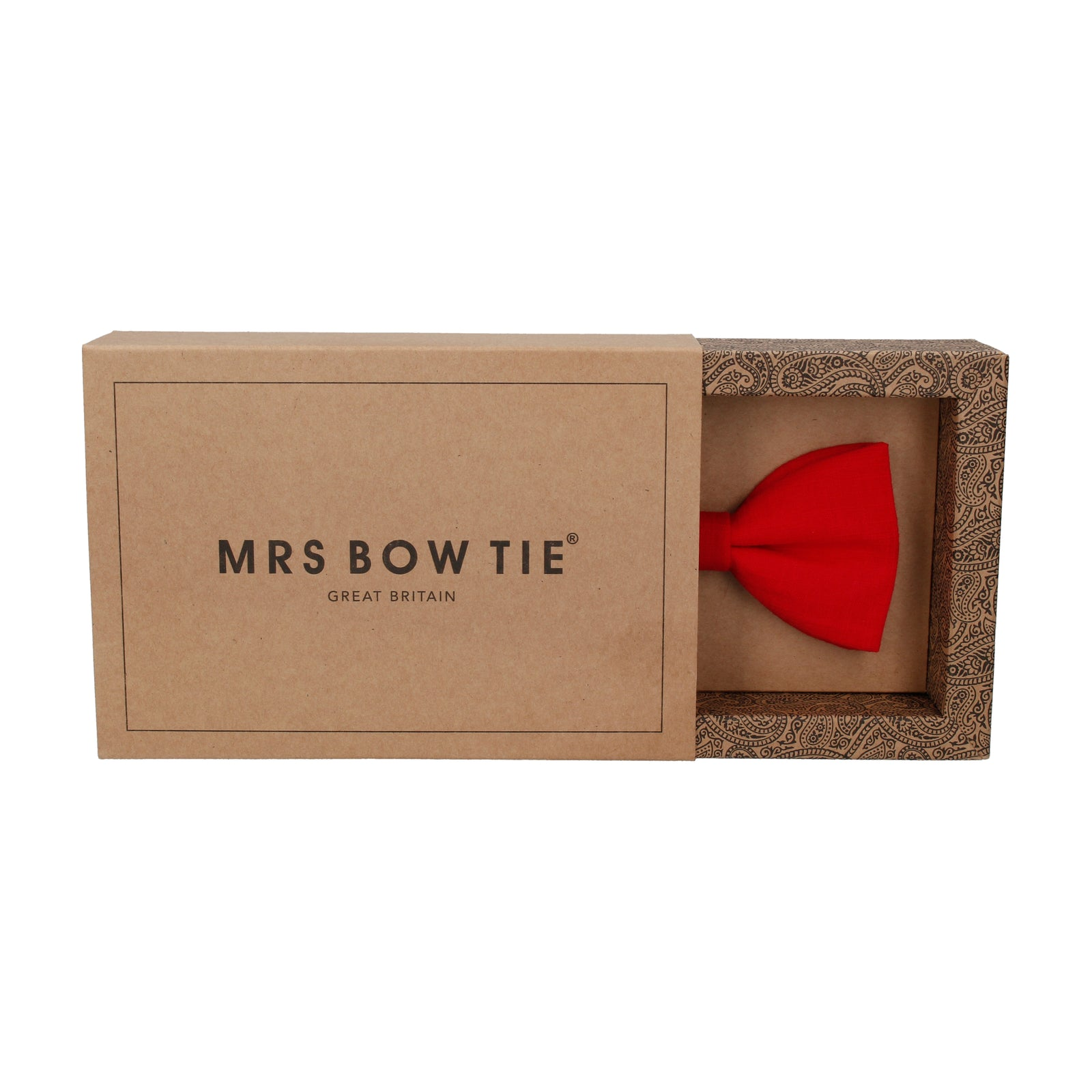 Red Plain Textured Cotton Bow Tie