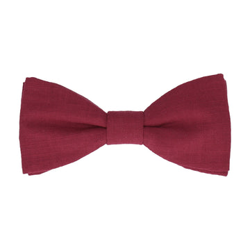 Burgundy Wine Plain Textured Cotton Bow Tie