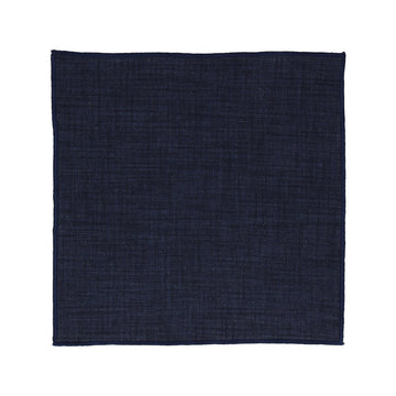Navy Blue Textured Cotton Linen Pocket Square