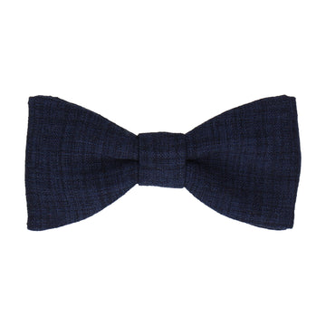 Navy Blue Textured Cotton Linen Bow Tie