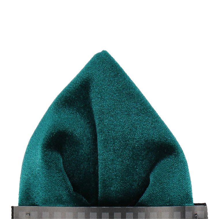 Teal Velvet Pocket Square