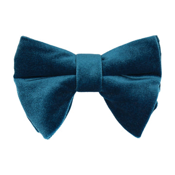 Peacock Blue Velvet Large Evening Bow Tie
