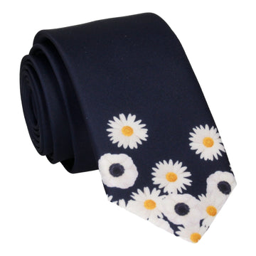 Daisy Tip Flower Navy Blue Tie