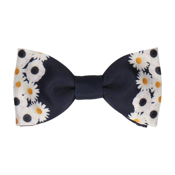 Daisy Floral Edge Navy Blue Bow Tie