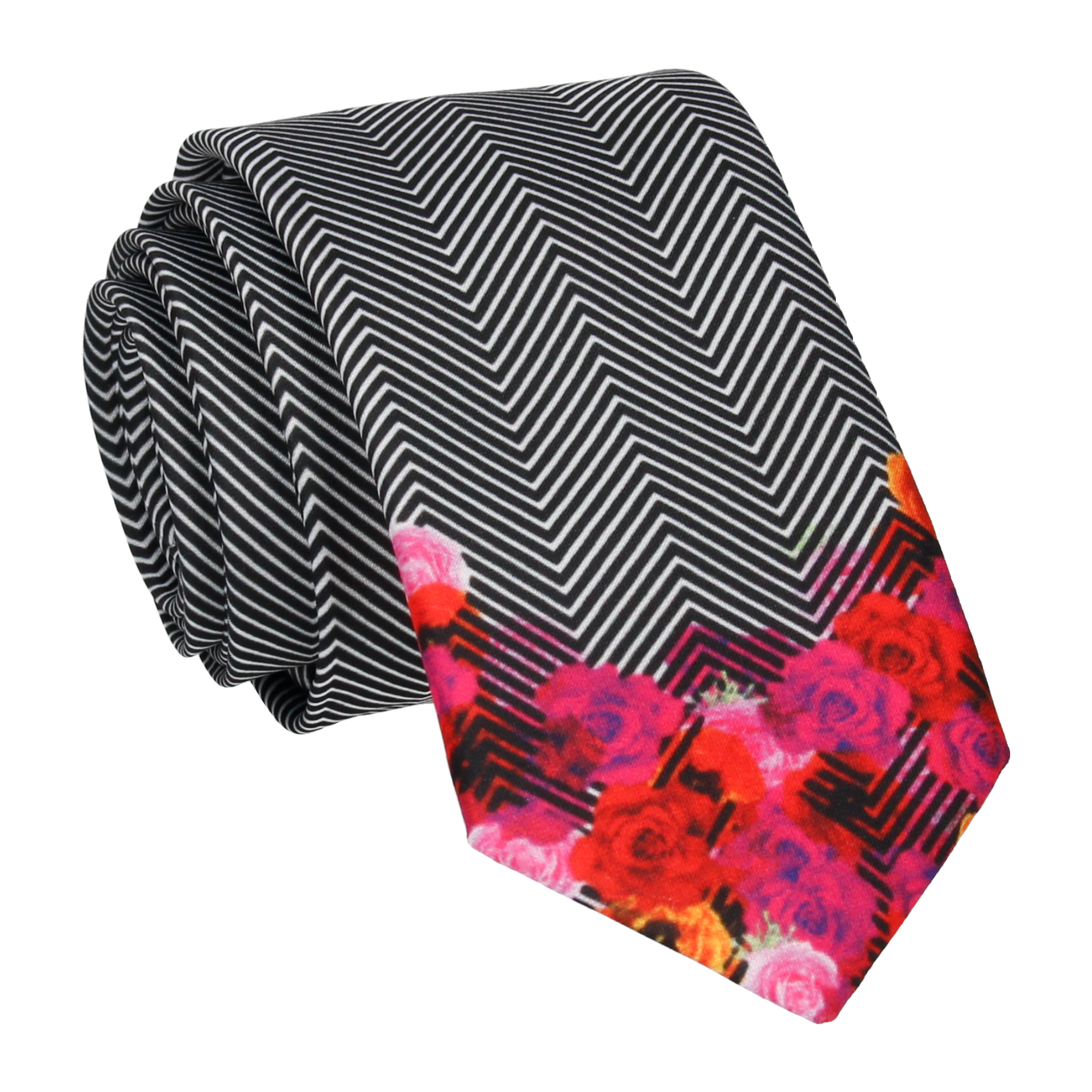 Floral Edge in Chevron Tie
