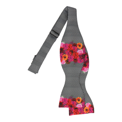 Floral Edge in Chevron Bow Tie