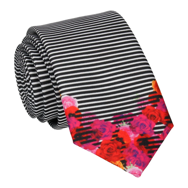 Floral Edge Pin Stripe Tie