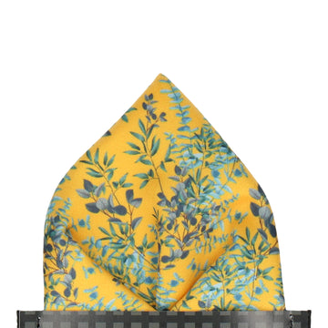 Yellow Boho Eucalyptus Pocket Square