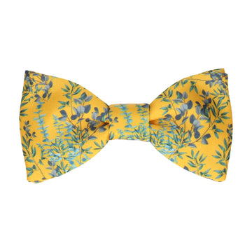 Yellow Boho Eucalyptus Bow Tie