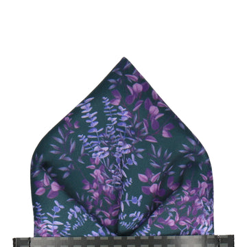 Navy & Purple Boho Eucalyptus Pocket Square