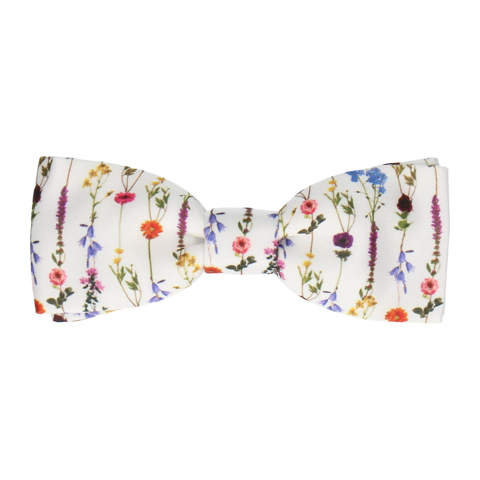Boho White Whimsical Hanging Flowers Bow Tie