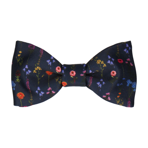 Flower Stems Navy Blue Bow Tie