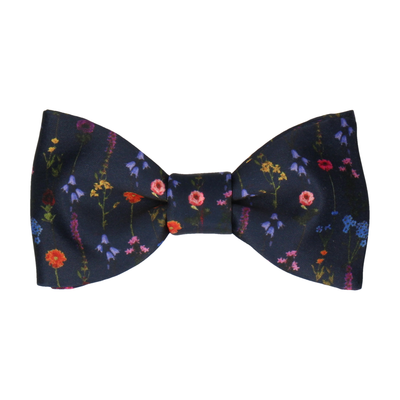Navy Blue Boho Whimsical Hanging Flowers Bow Tie