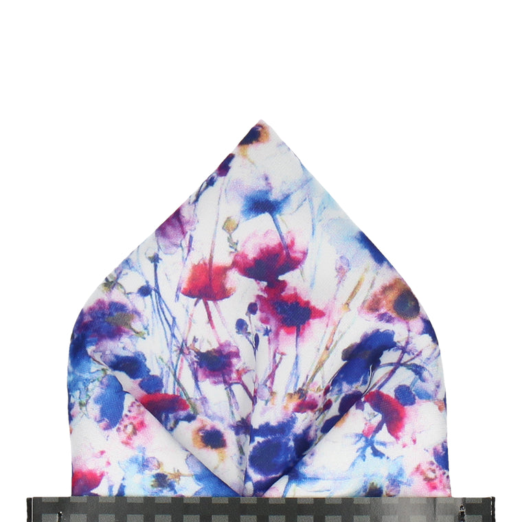 Floral Watercolour Painted Flowers Pocket Square
