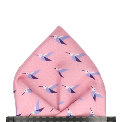 Origami Hummingbirds Rose Quartz Pocket Square