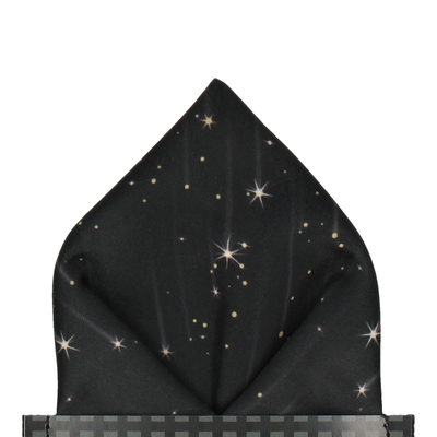 Celestial Galaxy Black Pocket Square