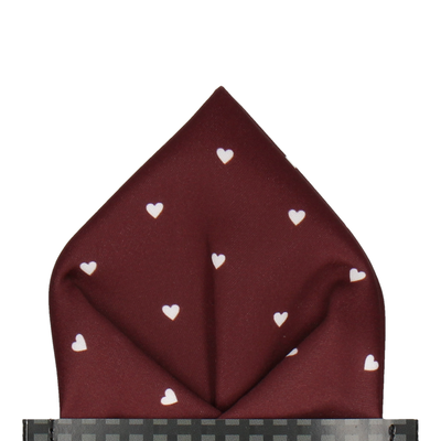 Polka Dot Hearts Maroon Red Pocket Square