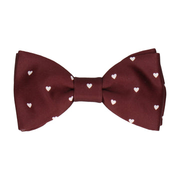 Polka Dot Hearts Maroon Red Bow Tie