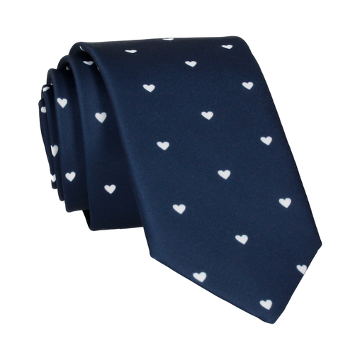 Polka Hearts in Navy & White Tie