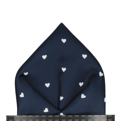 Polka Hearts in Navy & White Pocket Square