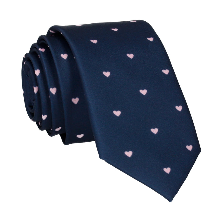 Polka Hearts in Navy & Pink Tie