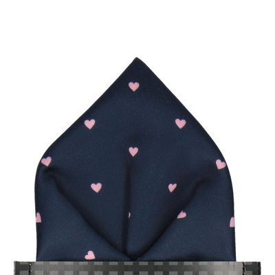 Polka Dot Hearts Navy & Pink Pocket Square