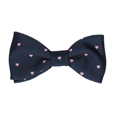 Polka Hearts Navy Blue & Pink Bow Tie