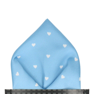 Polka Hearts in Pale Blue Pocket Square
