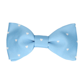 Polka Dot Hearts Pale Blue Bow Tie