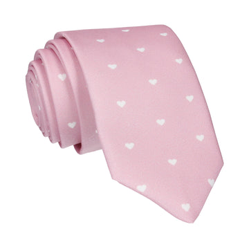 Polka Hearts in Pale Pink Tie