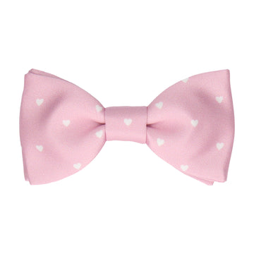 Polka Dot Hearts Pale Pink Bow Tie