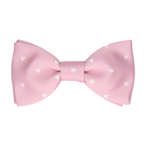 Polka Hearts Pale Pink Bow Tie