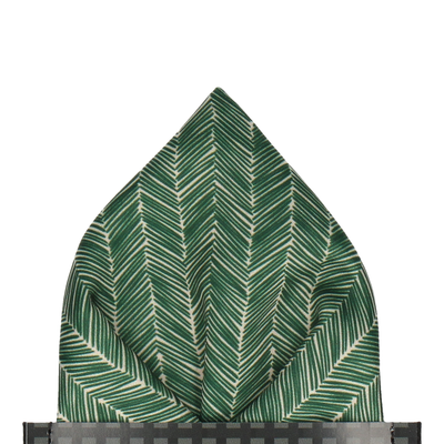 Forest Green Boho Chevron Pocket Square