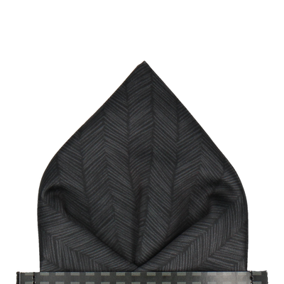 Charcoal Black Boho Chevron Pocket Square