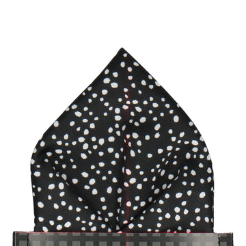 Scattered White Dots Black Pocket Square