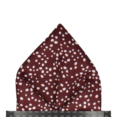 Scattered White Dots Maroon Red Pocket Square