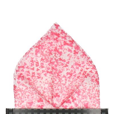 Cherry Blossom in Hot Coral Pocket Square
