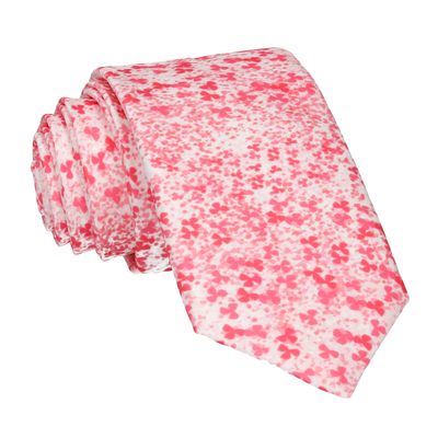 Coral Pink Cherry Blossom Flower Tie