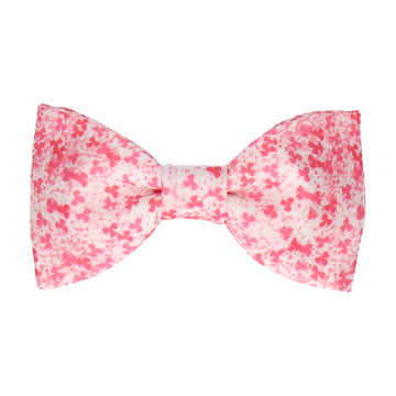 Coral Pink Cherry Blossom Flower Bow Tie