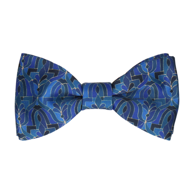 Sapphire Blue Moroccan Print Bow Tie
